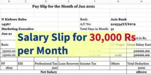 Salary Slip for 30000 per Month in Excel & PDF