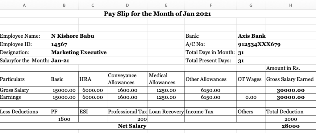Salary slip for 30000 Rs per month in India