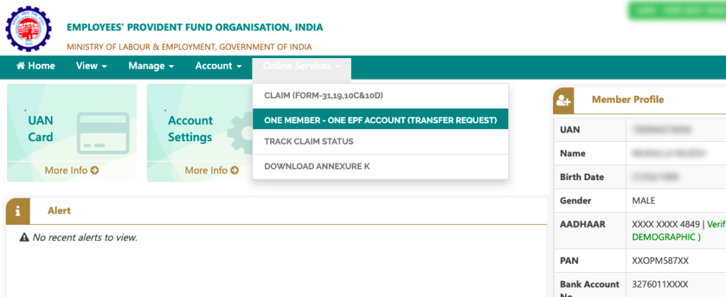 how to do pf transfer online under one member one epf account
