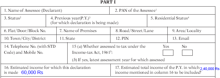 What is the estimated total income of P.Y in which income mentioned in column 16 to be included