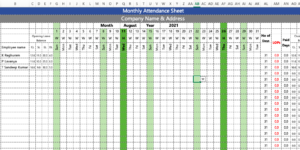 Employee Attendance Sheet in Excel with Formulas