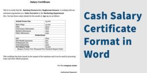 Cash Salary Certificate Letter Format in Word