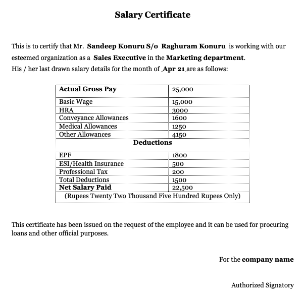 Cash salary certificate format in word