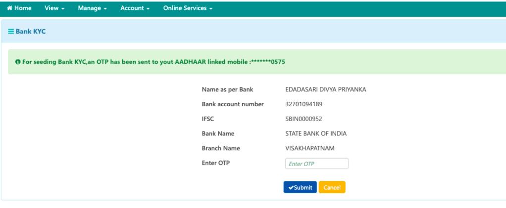 Bank details link in UAN member portal.