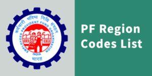 PF region code list