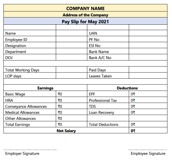 salary slip in India word format free download