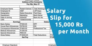 Salary slip for 15000 Rs per month