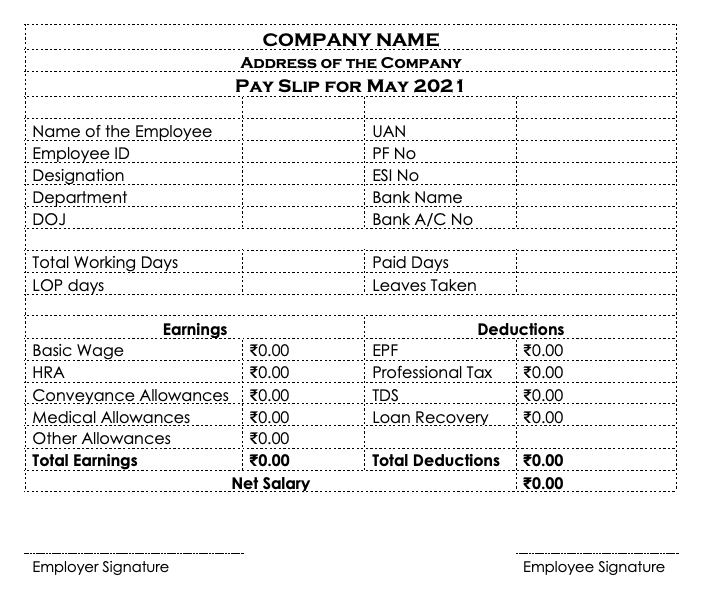 Simple salary slip format in india PDF formats free download