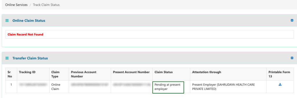 How to check PF transfer claim status online with tracking id