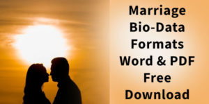Latest Marriage Biodata Format in Word & PDF Free Download
