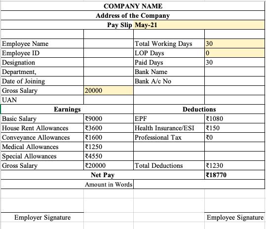simple salary slip format in excel free download