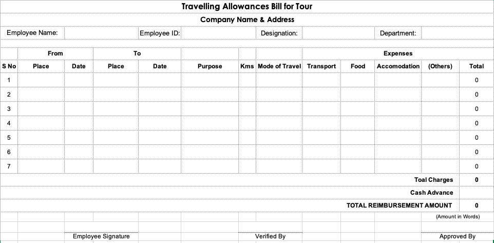 Travelling Allowances (TA/DA) Expenses Bill Format in Excel