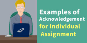 Examples of Acknowledgement for Individual Assignment