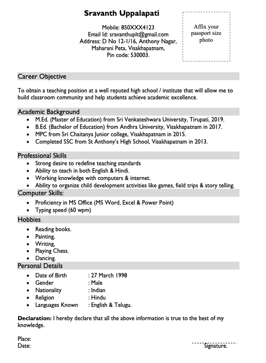 Sample Resumes for First Time Teachers without Experience