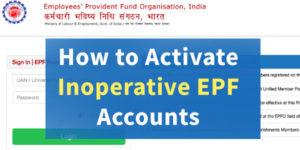 How to activate inoperative EPF accounts