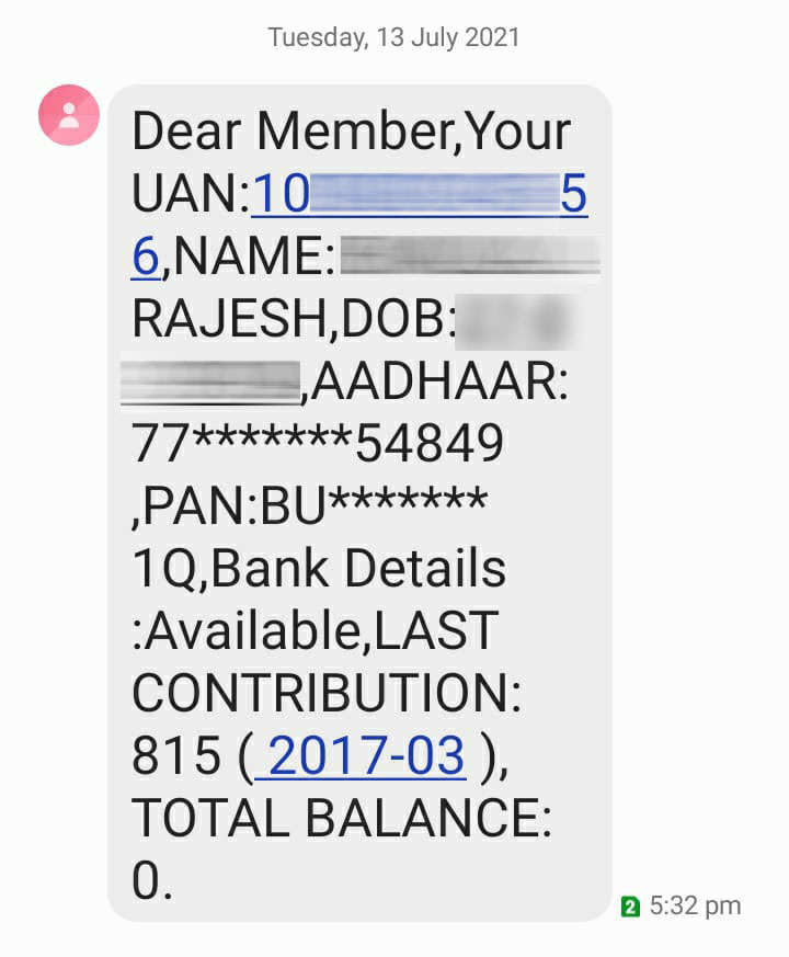 old pf account number balance check by missed call option,