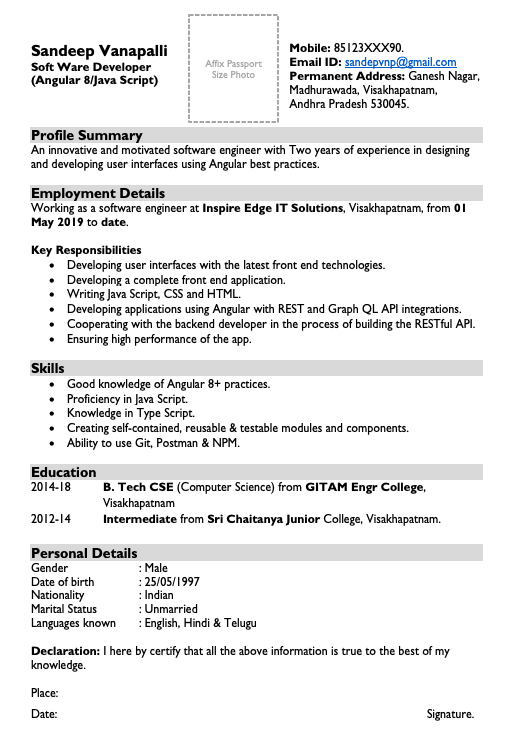 Resumes for Software engineers with 2 Years Experience in India