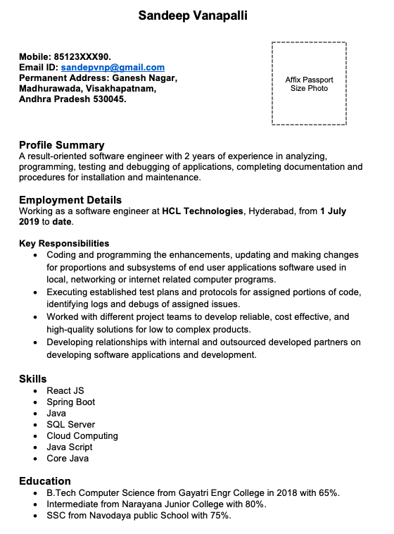 Sample Resumes for Software engineers with 2 Years Experience in India