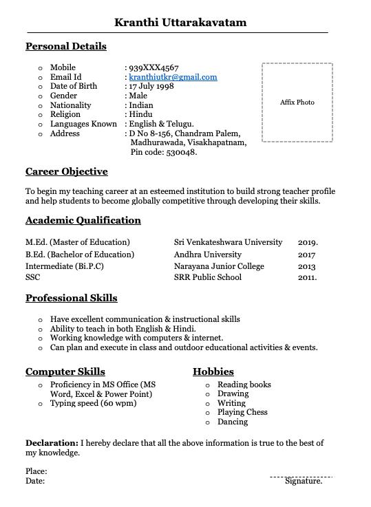 Fresher teacher resume formats