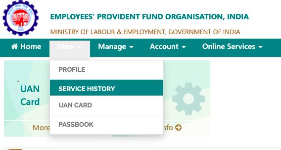 service history on UAN member portal,