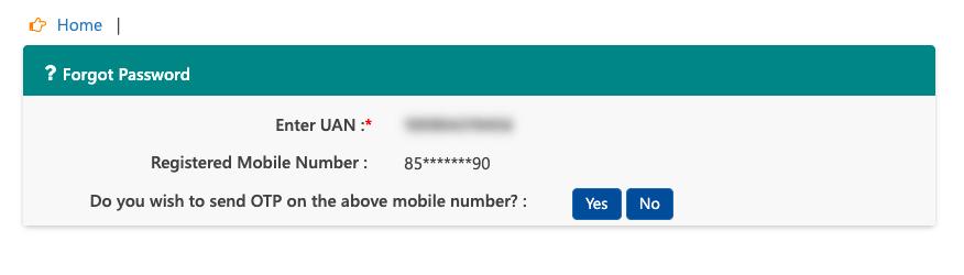 new password in UAN portal