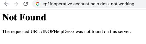 epf inoperative account help desk not working