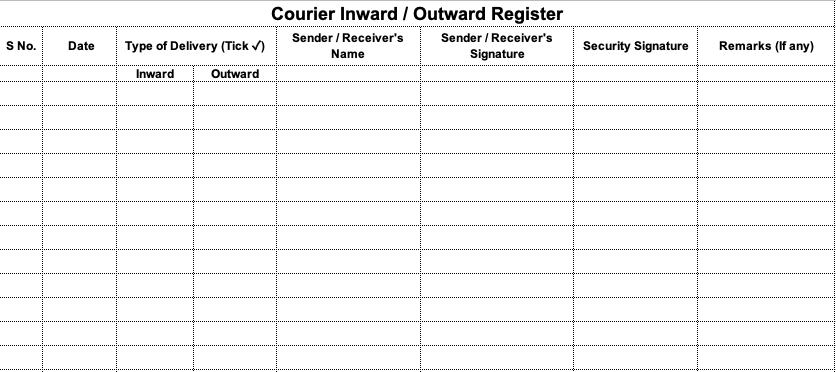Courier Inward and Outward Register Excel Format Download