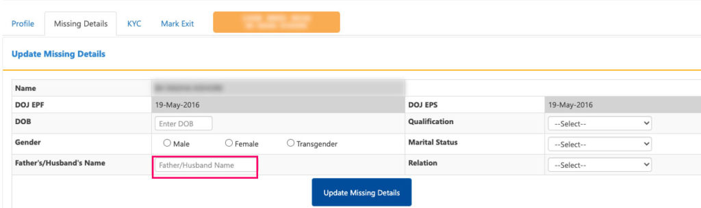 How to update missing father name in EPF account online by employer