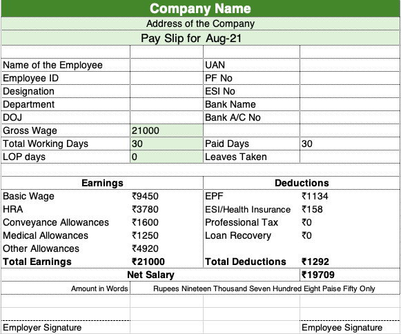 Salary slip format in excel with formulas download