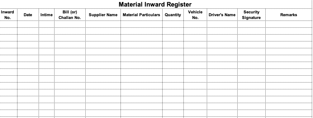 Material inward register format download in Excel