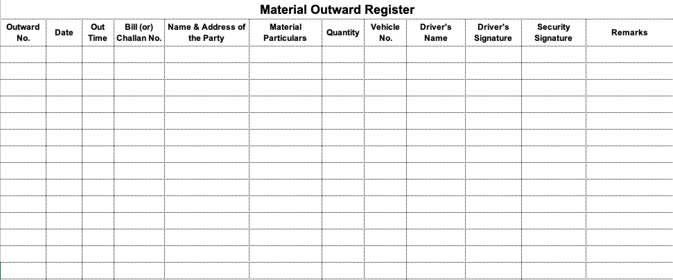 Material Outward Register in Excel Format Download