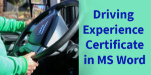 Driving Experience Certificate Formats in MS Word