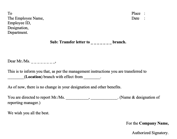 Transfer Letter to Employee from One Location to Another Word Format