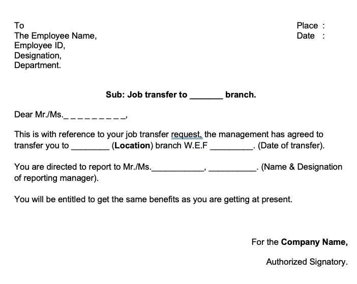 Tansfer Letter to Employee from One Location to Another Download