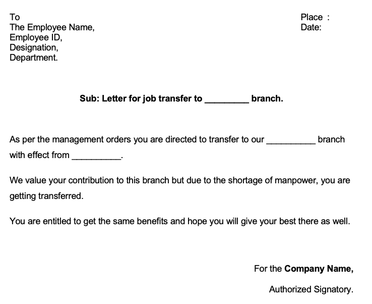 Transfer Letter to Employee from One Location to Another Doc Format