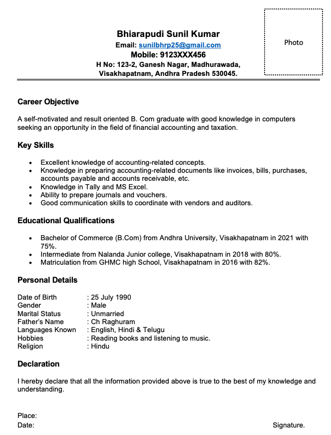 Resume for B.Com studens with no experience in Word