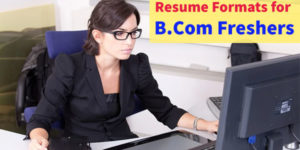 Sample resumes for B Com fresher graduates with no experience