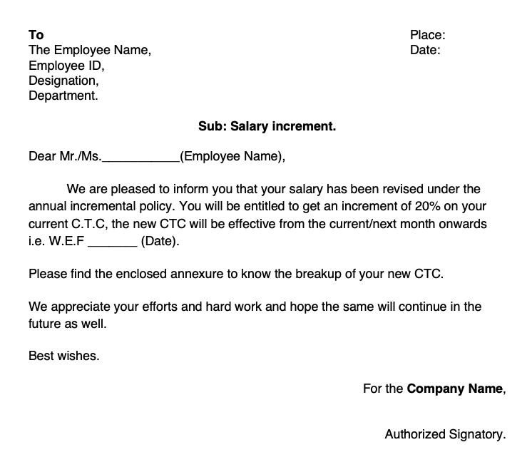 salary revision letter